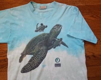 e008af0d98c5a6 Vtg 1994 Sea Turtle Tie Dye T Shirt