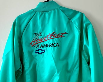 Vintage 1980/'s unisex satin jacket Chevrolet the heartbeat of America black color size large