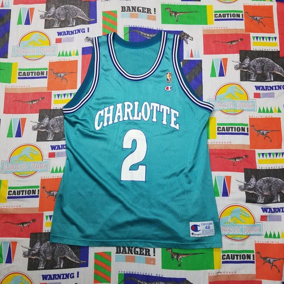 Vtg 90s Larry Johnson Charlotte Hornets NBA Jersey by Champion  4093dd58a