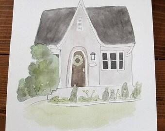Custom house watercolor portrait / home decor / home portrait