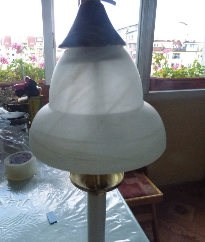 Metal Lamp Table Vintage Desk Base Shade Glass Light Lamps Cast Style W Art Deco Brass+wood Antique 2 Tole Vtg WHITE GLASS 1980 E14 SOCKET