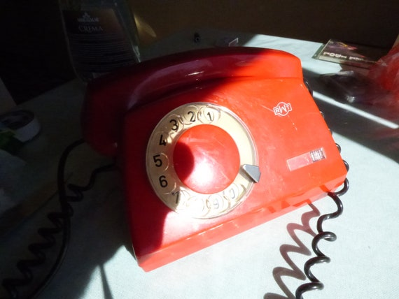 Red Phone Working Place Phone Poland Phone Working Desk Telephone Rotary Phone TELEKOM RWT Electronics 80s Vintage Disc Dial Phone
