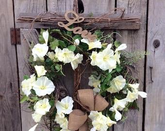 Morning Glory Cross Wreath