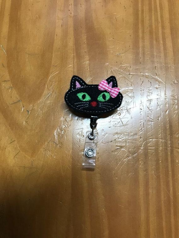 Halloween black cat kitten neck lanyard safety breakaway ID badge holder gift
