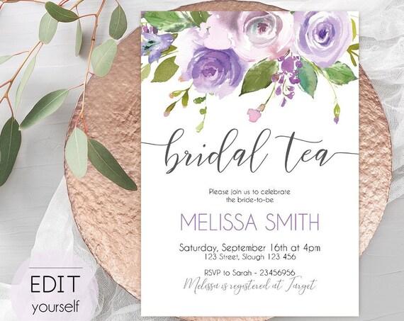 Bridal Tea Invitation, Editable PDF, Bridal Shower Printable, Floral Bridal, lilac lavender watercolor, DIY Bridal Invitation Template