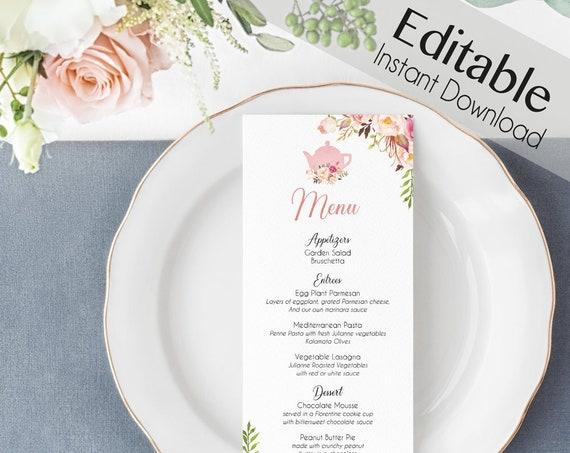 Editable Menu Bridal Tea, Editable Party Menu, Printable Menu, Romantic Blooms Rose Floral, Tea pot, Event Menu, Editable Floral Menu Card