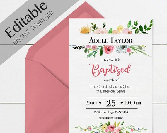 Baptism Invitation Girl Editable file, Editable PDF, Instant Download, Girl Invitation flowers, LDS Baptism Invite, No Photo Needed