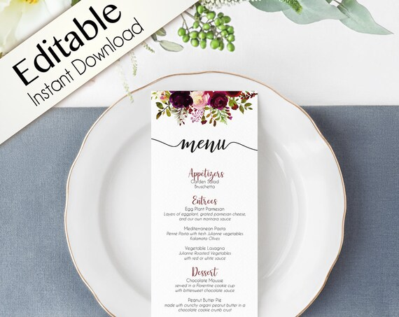 Editable Menu Bridal Shower, Party Menu, Printable Menu, Burgundy Boho Marsala Event Menu, Floral Menu Card Wedding Reception