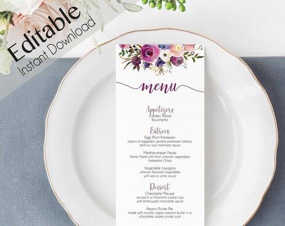 Editable Menu Bridal Shower, Party Menu Printable Purple Lavender Floral Event Menu purple Floral Menu Card Wedding Reception, Editable Menu