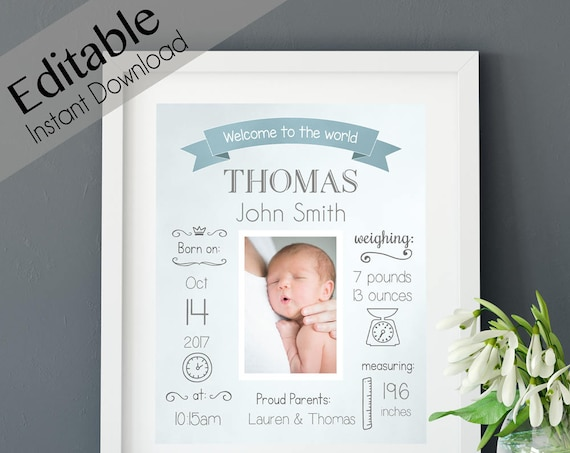 Birth Announcement, BIRTH Stats printable wall art template, Print Sign poster wall art, whiteboard boy baby, instant download, Corjl