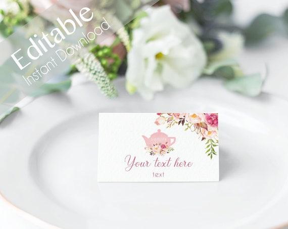 EDITABLE Tent Cards, Tent Flat Cards, Bridal tea, Printable Romantic Bloom Blush Pink Flower Gold, Editable Place Card Bridal Shower