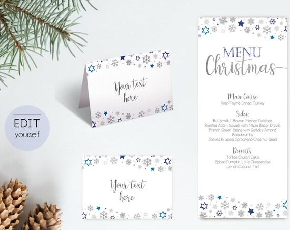 Menu Christmas template, Editable Menu, Editable Tent Card, Place Card, Buffet Card Template, Christmas Template, Christmas Silver Blue