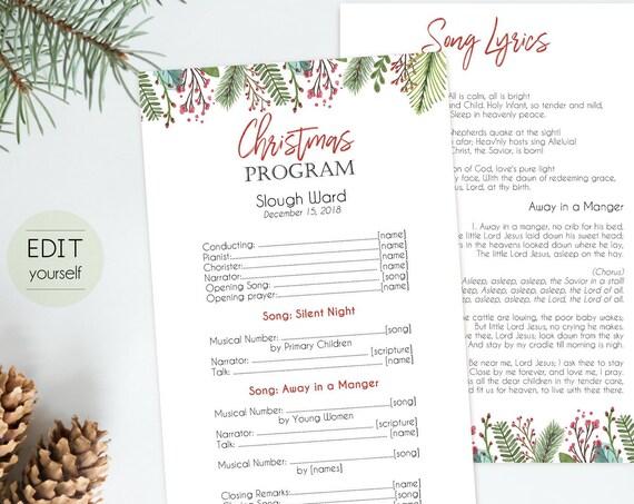 Christmas Program, Editable PDF, Editable Template, Editable Text Instant Download Program PDF