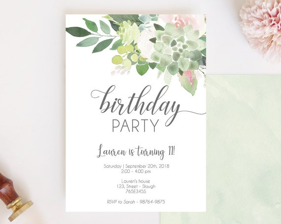 Succulent Birthday Party Invitation, Editable Succulent Dusty Rose, Birthday Party invitation, Printable Party Invitation, Editable PDF