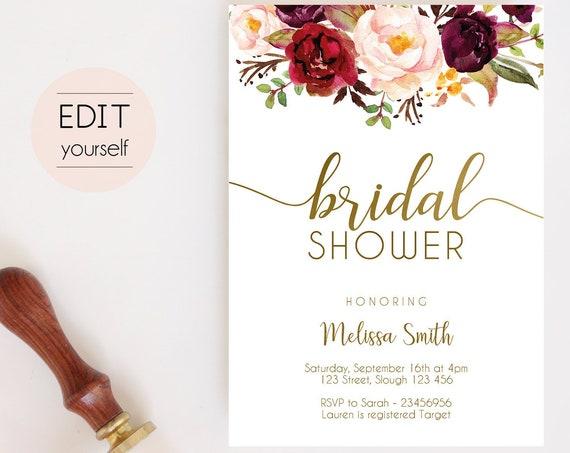 Bridal Shower Invitation, Editable PDF, Bridal Shower Printable, Floral Blush Marsala Gold, Bridal Sign Flowers Burgundy, Shower Invitation