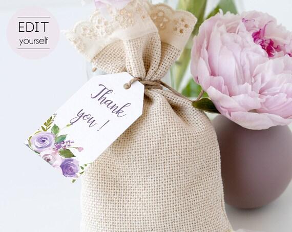 Favor Tag Bridal Shower Template, Editable PDF Bridal Shoer, Bridal Tea Tag Printable, Instant Download, Lilac Purple Floral