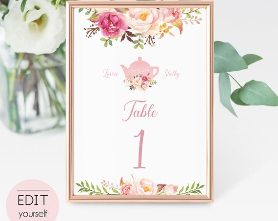 Table Numbers Printable, Wedding Table Numbers, Table Number Template, Editable Table Numbers, Romantic Blooms Rose Floral Gold Sign tea pot
