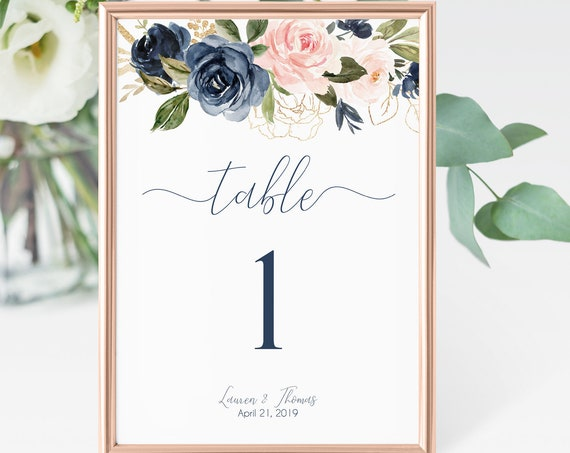 Editable Table Number, Table Number Template, Table Numbers sign, navy dusty rose blush gold, Editable PDF, Instant Download