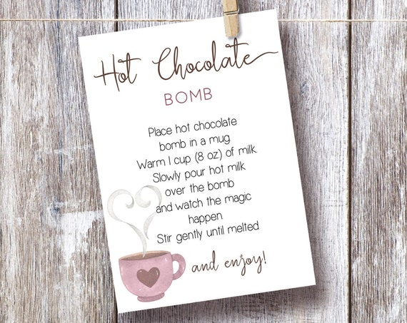 Hot Chocolate Bomb Tag, Editable Hot Chocolate Bomb Tag, Printable Hot Cocoa Bomb 5x7, Christmas Gift, Party Favor, Corjl, HC01