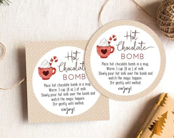 Hot Chocolate Bomb Tag, Editable Hot Chocolate Bomb Tag, Printable Hot Cocoa Bomb Tag, Christmas Gift, Party Favor, Corjl, HC11