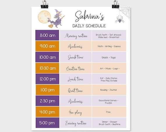 Editable Home School Daily Planner, Editable Daily Routine Schedule, Halloween Routine Schedule Chart, Daily Homeschool Planner, Corjl
