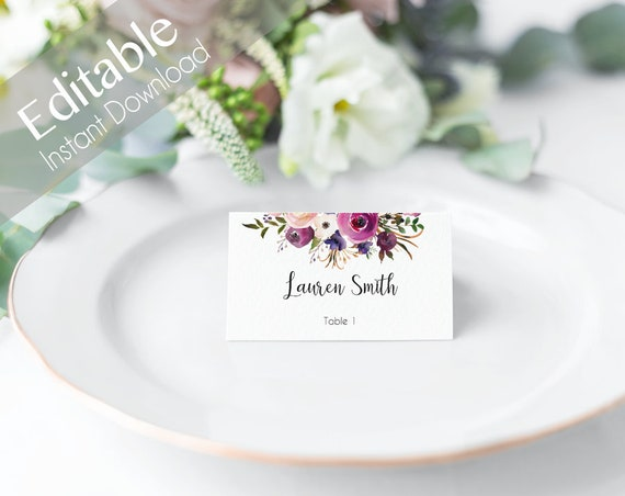 Editable Place Card, Place Card Template, Seating Cards, Table Numbers, purple lavender flowers Editable PDF Instant Download