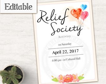 Relief Society Invitation Editable Pdf Lds Relief Society Etsy