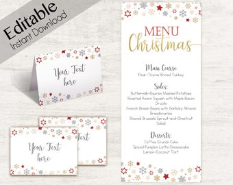 Christmas Table Card Etsy