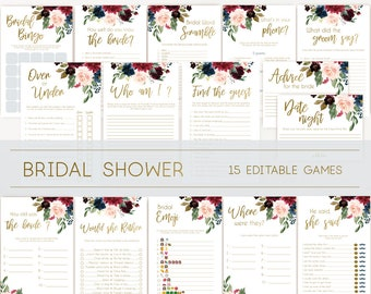 bridal shower games bridal shower games bundle wedding shower games editable games blue navy marsala burgundy blush and gold