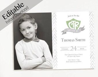 Baptism Invitation Boy Editable File PDF Instant Download LDS Invite Green