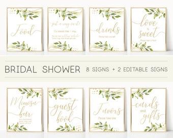 bridal shower sign set bridal shower sign package bundle printable bridal tea sign greenery bridal shower gold sign editable sign
