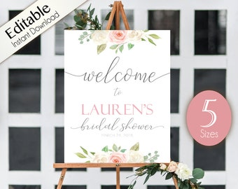 welcome sign bridal shower template bridal shower editable pdf welcome bridal shower sign romantic white blush pink floral editable sign