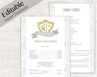 Baptism Program Editable PDF LDS Printable Digital Handout Grey Gold Watercolor Boy Girl
