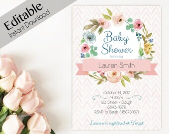Baby Shower Invitation Editable PDF Instant Download Girl Flowers Template