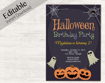 Halloween Invitation Birthday INSTANT DOWNLOAD Party Invitations Editable