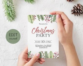 christmas invitation template christmas invite editable christmas party template editable christmas invitation holiday party invitations