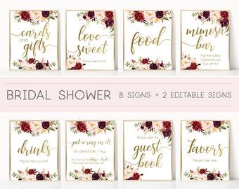 bridal shower sign bridal shower sign package bundleprintable bridal tea marsala burgundy blush floral gold editable sign