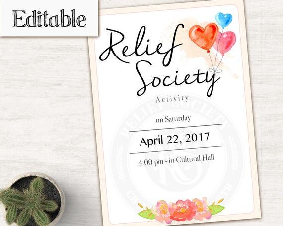 Relief Society Invitation, Editable PDF, LDS Relief Society, Instant Download, LDS invitation Relief Society Printable
