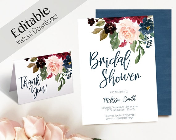 Bridal Shower Invitation, Editable PDF, Bridal Shower Blue Navy Marsala Burgundy Blush Floral Thank you Card  DIY Bridal Invitation Template