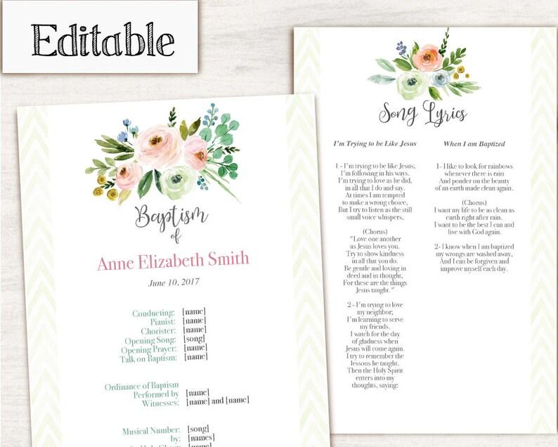 Baptism Program LDS Printable Digital, Editable PDF, Songs Handout Girl  Baptism Pink Green Flowers, Program Template