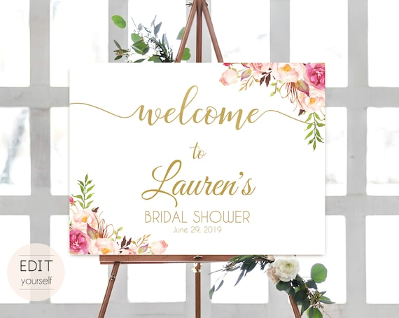 Welcome Sign Bridal Shower Template, Editable PDF ANY EVENT Bridal Baby Wedding Baptism Birthday Shower Sign Romantic Blush Pink Gold Floral
