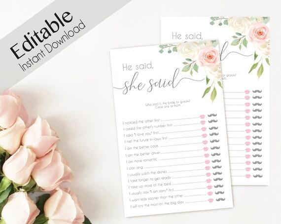 He Said She Said Bridal Shower Game  Romantic White Blush Pink Floral, Editable Games Bridal shower printable game bridal shower