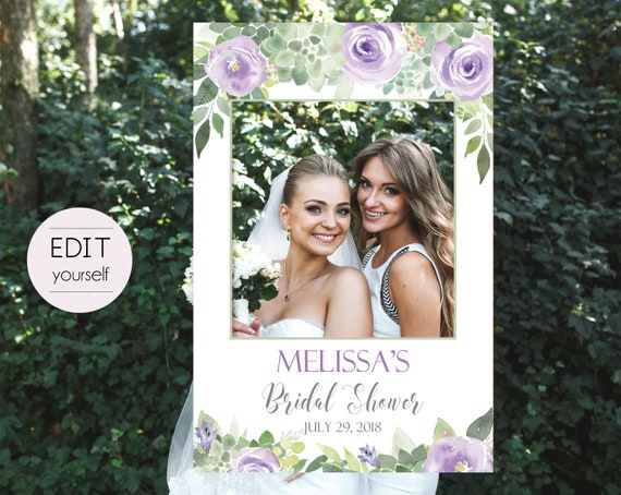 Bridal Shower Succulent Photo Booth Frame, Succulent Photo Prop Frame, Photo Booth Prop, Editable PDF, Succulent greenery Lilac Floral