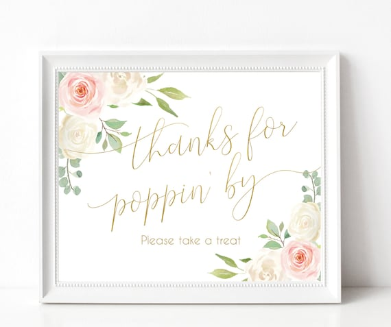 Thanks For Popping By Printable Sign Baby Shower Sign, Wedding Popcorn, Shower Favor Popcorn, Popcorn Bar Sign, Blush Pink White Floral Gold