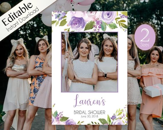 Bridal Shower Photo Booth Frame, Photo Prop Frame, Photo Booth Prop, Birthday Photo, Instant Download, Editable PDF, Lilac Lavender Floral