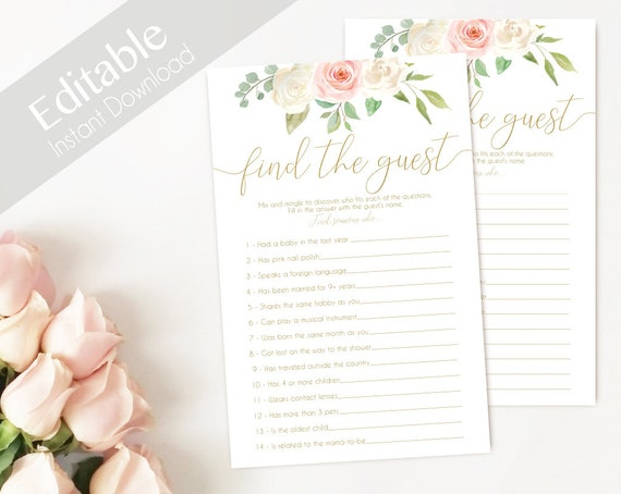 Bridal Shower game, Baby Shower Game, Find the Guest Editable PDF Bridal Shower Romantic Blush Pink White Flowers Gold, Editable Game