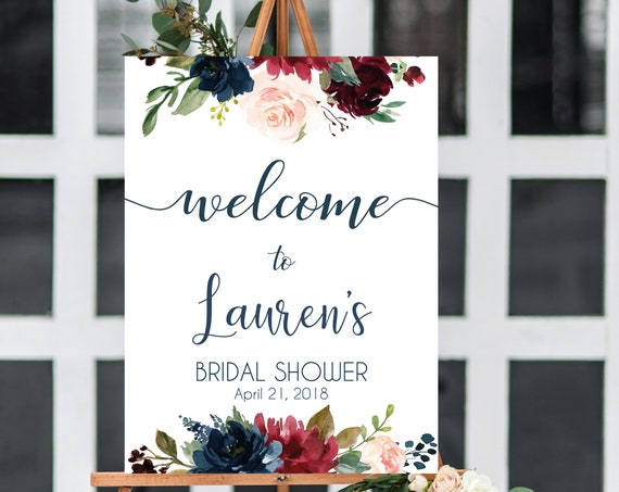 Welcome Sign Bridal Shower, Template Bridal Shower, Editable PDF, Welcome Sign Blue Navy Marsala Burgundy Blush, Editable sign, any event