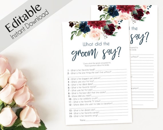 Bridal Shower Game What did the Groom Say about his Bride? Editable PDF Bridal Shower Blue Navy Marsala Burgundy Blush Floral watercolor