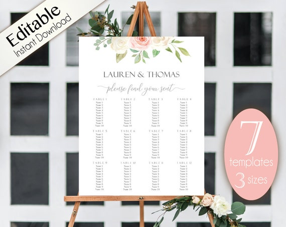 Wedding Seating Chart Template, 7 templates, Editable Wedding Table Seating Chart Poster Sign, PDF Instant Download, white blush pink floral