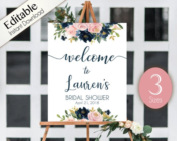 Welcome Sign Bridal Shower Template, Editable PDF, ANY EVENT, Bridal Baby Wedding Baptism Birthday Shower Sign, Dusty Rose Navy Blue Floral
